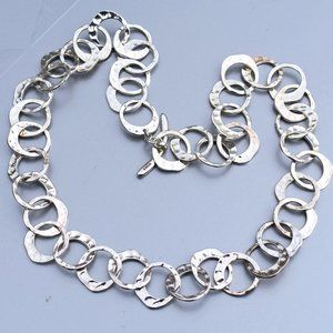 MONET Big Silver Tone Hammered Circles Necklace